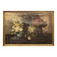 Konstantin Stoistner Oil Painting Still Life with Roses, Daisies, & Poppies
