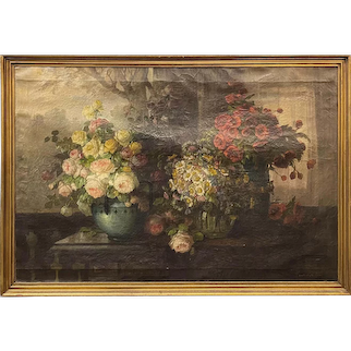 Konstantin Stoistner Oil Painting Still Life with Roses, Daisies, & Poppies