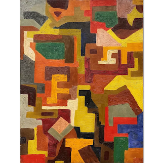 Mid Century New York School Multicolor Geometric Abstract Painting