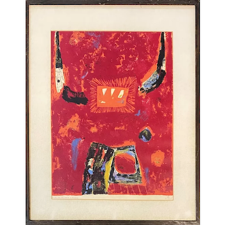 Kumi Sugai Mid Century Color Abstract Expressionist Lithograph