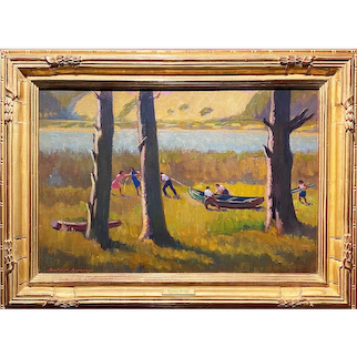 Burton Shepard Boundey Impressionist Oil Painting, Bringing Out the Boat