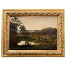 Emile Faure Beaulieu Oil Painting of a New York Landscape 1859