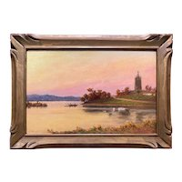 C. Myron Clark Landscape Oil Painting, On The Charles, Watertown, 1916