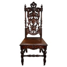 Early 20th c Heavily Carved Mahogany European Style Knight Chair from Paine Furniture