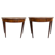 Pair of Hepplewhite Style Mahogany Demilune Console Tables