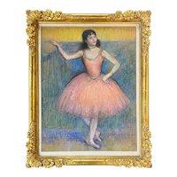 Louis Kronberg Impressionist Pastel Painting of a Ballerina