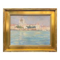 Jane Peterson Cityscape Oil Painting of Venice with Newcomb Macklin Frame