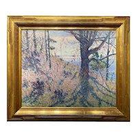 Allen Tucker Impressionist Oil Painting, Spring Hillside, Probably Maine, 1911