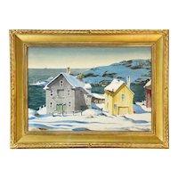 Henry Martin Gasser Impressionist Watercolor Painting, Winter Coastal Scene