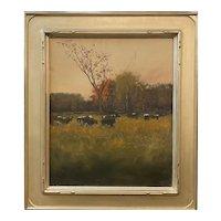 Dennis Sheehan Tonalist Oil Painting, Autumn Landscape with Cows