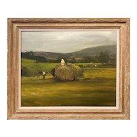 Dennis Sheehan Landscape Oil Painting, Harvest, Approaching Storm 1996