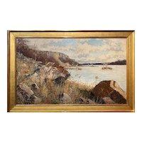 "Harry ""Hal"" Robinson Landscape Oil Painting, Hudson River, Palisades"