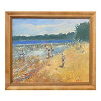Stephen Motyka Impressionist Oil Painting, Swimming at Lincoln Woods