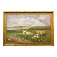 Sidney Lawrence Brackett Coastal Landscape with Sheep Grazing