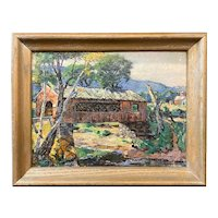 Frederick Lester Sexton Landscape Oil Painting of a Covered Bridge
