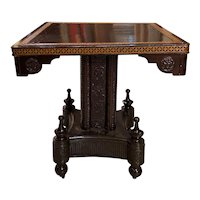 Aesthetic Tilt Top Center or Gaming Table with Molded Leather Lined Pedestal