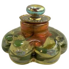 Rare Exceptional Tiffany Millefiori Art Glass Paperweight Inkwell, Possibly Experimental