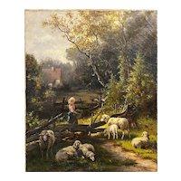 John Knox Oil Painting Landscape with Shepherdess & Sheep