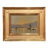 William R. Davis Luminous Marine Oil Painting, Morning Fishermen