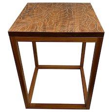 Peter Sandback Modernist Walnut Nailwork Side Table with Foliate Leaf Design