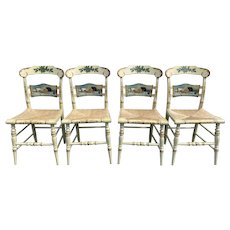 Set of Four Hitchcock Hand Painted Limited Edition Rush Seat Side Chairs Christmas 1988
