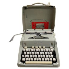 Swiss Hermes 3000 Portable Typewriter with Case by Paillard S.A. Yerndon circa 1960's