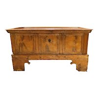 17th / 18th Century Continental Pine Storage Chest on Frame with Intricate Lock