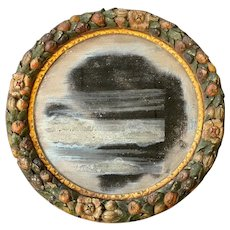 Round Wall Mirror with Fruit Decorated Frame from the John Philip Sousa Home circa 1920
