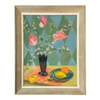 E.M. Hincks Oil Painting, Still Life with Pink Calla Lilies
