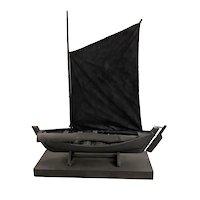 Varujan Boghosian Abstract Expressionist Ebonized Assemblage, Ship Log