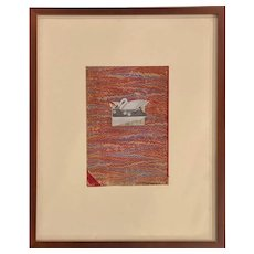 Varujan Boghosian Abstract Expressionist Collage, Swan & Book Fragment