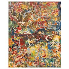 Colorful Mid Century Drip Abstract Oil Painting from a Long Island, NY Estate