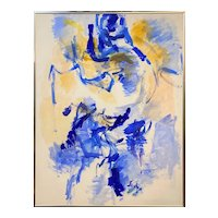 Abstract Oil Painting in Blues and Yellows, Illegibly Signed, Circa 1970's