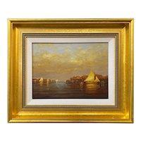 Vernon George Broe Marine Oil Painting, Sunset Sail, Probably Maine