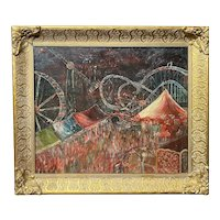 American School Impressionist Oil Painting of Coney Island, Signed Fischer 1938