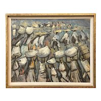 Jaime Oates Impressionist Figural Oil Painting of a Line of Workers