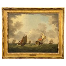 Francis Swaine 18th Century Marine Oil Painting, British Warships off Medway