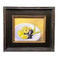 Julia Redman Acrylic Still Life Painting, Snacking Olives