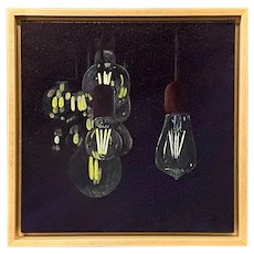 Julia Redman Impressionist Acrylic Painting with Vintage Light Bulbs, A String of Ideas