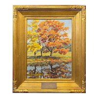 Frank March Rines Oil Painting of an New England Autumn Landscape