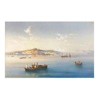 Tomaso DeSimone Marine Watercolor Painting of Boats at Naples, Italy