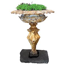 19th c French Cast Iron Garden Urn with Griffin Style Base