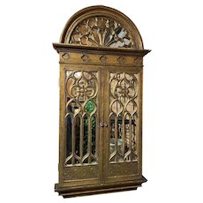 Gothic Style Gilt Tabernacle Hanging Mirror with Hinged Doors