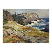 Aldro Thompson Hibbard Oil Landscape Painting of a Coastal Scene