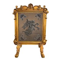 19th c Continental Carved Giltwood Firescreen with Allegorical Beadwork