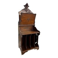 Late 19th c Aesthetic Period Carved Walnut Music Stand with Ebonized Decoration