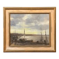 Wendell Rogers Marine Oil Painting of a Harbor Scene