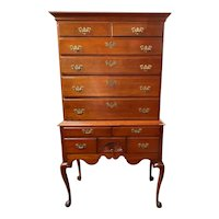 18th Century New England Highboy in Cherry with Fan Carving