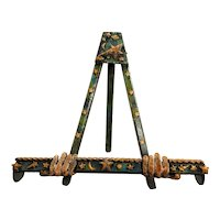 Folk Art Carved Polychrome Wooden Easel with Hand Supports