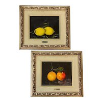 Antonio Gusini Pair of Still Life Paintings with Fruit -  Pair of Lemons, Apple & Orange